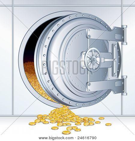 Open Vault Door with a Full of Money Storage, vector illustration
