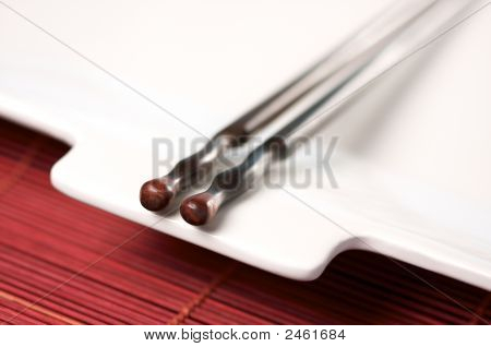 Wooden Chopsticks & White Plate