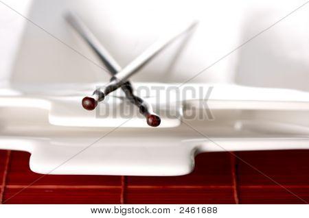 Wooden Chopsticks & White Plate