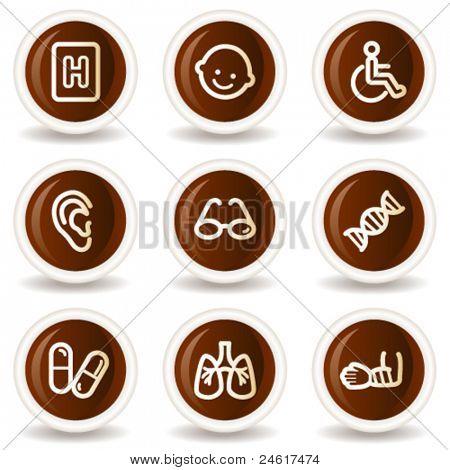 Medicine web icons set 2, chocolate buttons