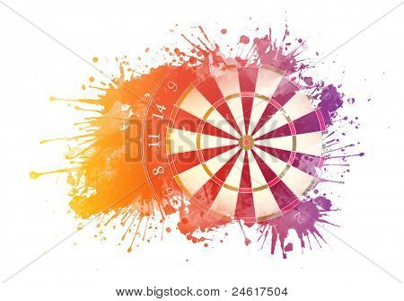 Darts Board in Watercolor Isolated on White Background.