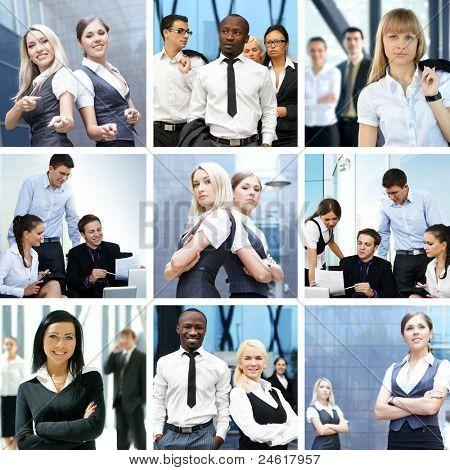 Unternehmen-Collage von Bildern Geschäft gemacht