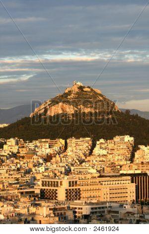 Athens, Greece - Lykavittos Hill In Sunset Light