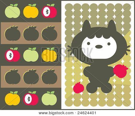 Kawaii Katze mit Äpfeln.