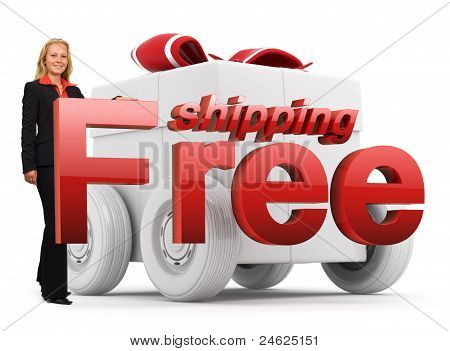 Free Shipping Icon - Business Woman - Gift Box - Red
