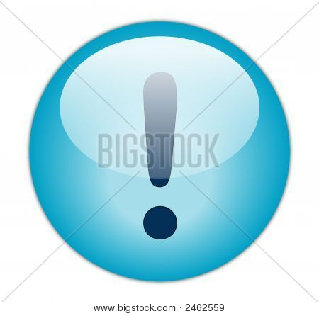 The Glassy Aqua Blue Exclamation Icon Button