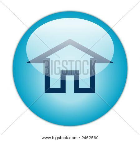 The Glassy Aqua Blue Home Icon Button