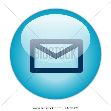 El botón del icono de correo electrónico azul Aqua vidrioso