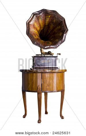 Old Record Player Over Wood Table On White Background. Retro Ima