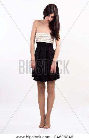 Barefoot Sleeping Girl Standing On Tiptoes
