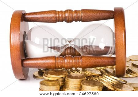 Hourglasses And Coin Isolated On White