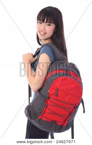 Ethnic Student Girl Off To Education Class