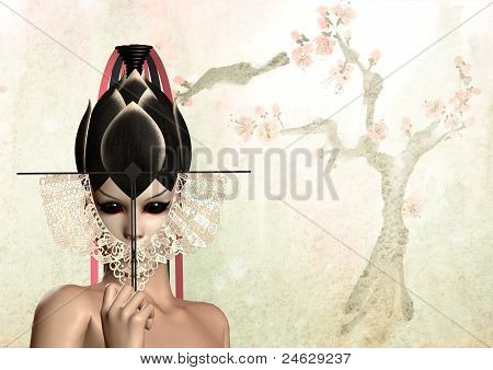 geisha japanese woman with black fan over the tree