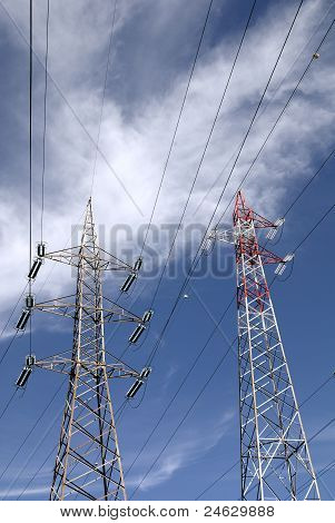 High voltage line, pylons
