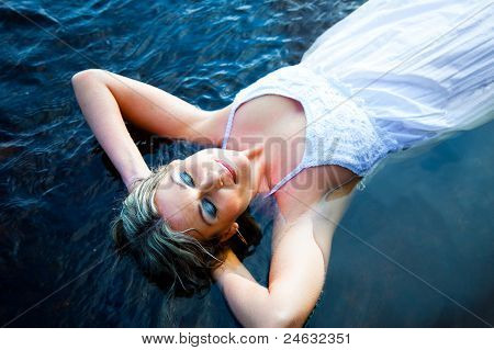 beautiful woman enjoying silence