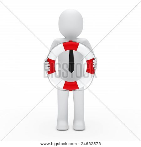 3D Businessman In Lifebelt