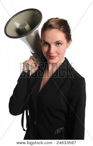 Portrait of beautiful businesswoman holding megaphone isolated over white background
