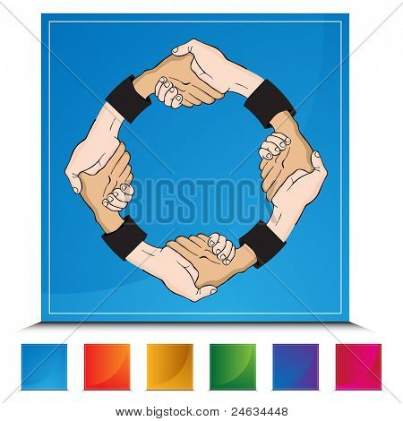 An image of a handshake on a colorful button.