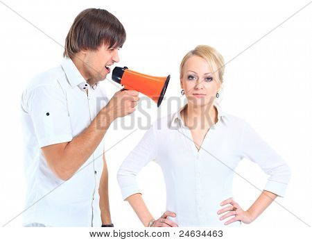 Young woman gets earful from an annoyed man isolated on white background