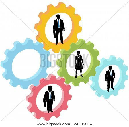 Team of business people work inside technology gears, with one gear open as copy space