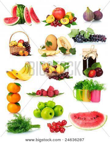 Collage mit leckeren Sommer Früchte und Beeren, isoliert auf weiss