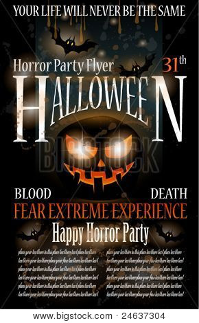 Halloween Horror Party Flyer with blood drops over the composition, grunge background and jack the lantern with fear expression.