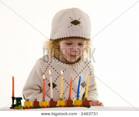 Little Boy On Hanukkah