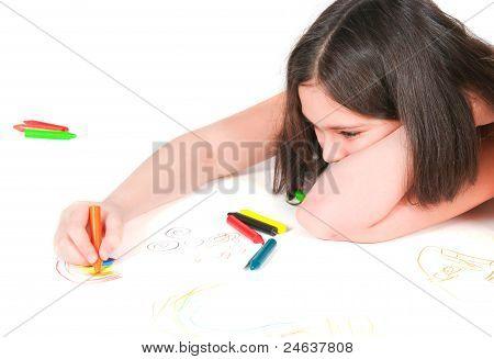 The Girl Lying Draws White Background