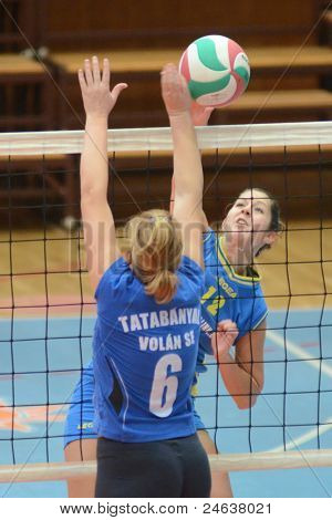 KAPOSVAR, HUNGARY - OCTOBER 2: Karmen Kovacs (12) in action at a Hungarian NB I. League volleyball game Kaposvar (yellow number) vs Tatabanya (white number), October 2, 2011 in Kaposvar, Hungary.