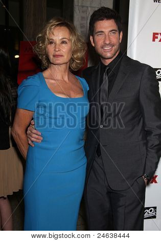 "LOS ANGELES - JAN 16:  Jessica Lange & Dylan McDermott arrives to the ""American Horror Story"" Los Angeles Premiere  on October 3,2011 in Hollywood, CA"