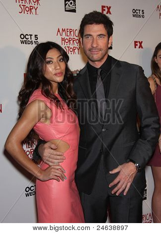 "LOS ANGELES - JAN 16:  Dylan McDermott & Date arrives to the ""American Horror Story"" Los Angeles Premiere  on October 3,2011 in Hollywood, CA"