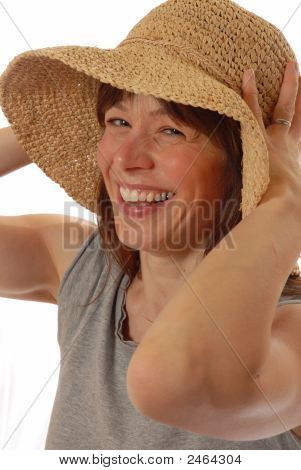 Young Lady  With Straw Hat