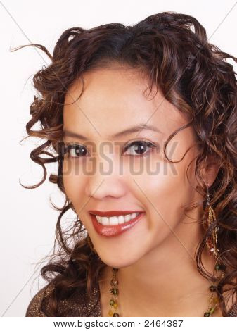 Portrait Of Young Hispanic Woman With Big Smile