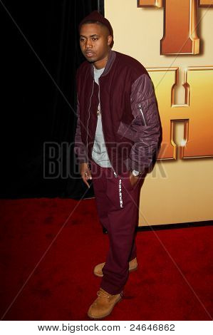 "NEW YORK - OCTOBER 24: Nas attends the premiere of ""Tower Heist"" at the Ziegfeld Theatre on October 24, 2011 in New York City."