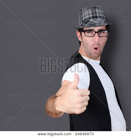 Funny guy showing thumb up