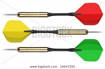Colorful darts isolated on white