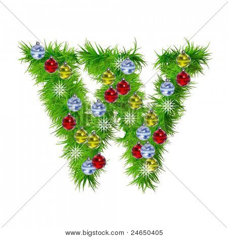 High resolution conceptual Christmas font made of green fir tree branches with red,yellow and blue ornaments, with star shape snowflakes, isolated on white background, for holiday or religion design