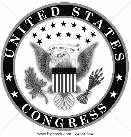 Seal of the US Congress Black and White