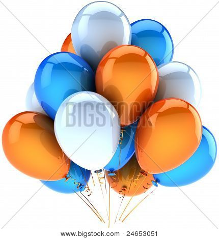Party balloons happy birthday decoration of celebrate orange blue white