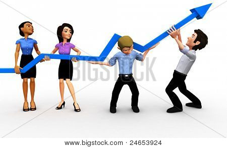 3D business group with an arrow going up isolated - growth concepts