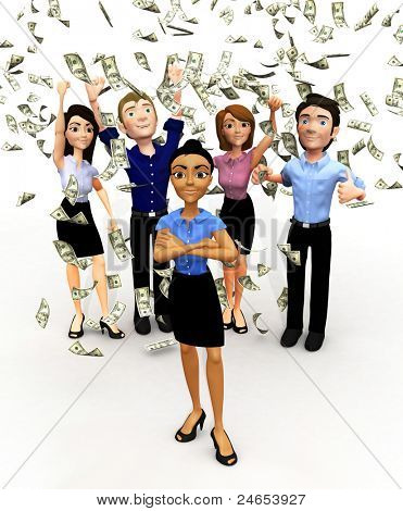 3D business group under a money rain - isolated over a white background