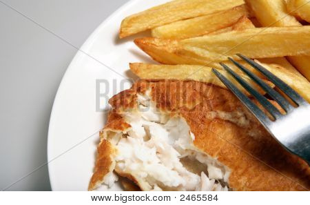 Fish And Chips With Fork