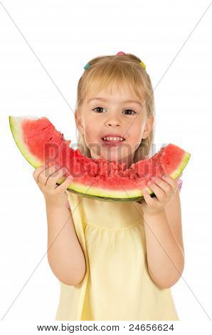 A girl with watermelon