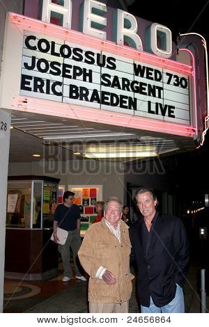 LOS ANGELES - SEPT 28:  Joseph Sargent, Eric Braeden arriving at the Retrospective Screening of Colossus: The Forbin Project at the Aero Theater on September 28, 2011 in Santa Monica, CA