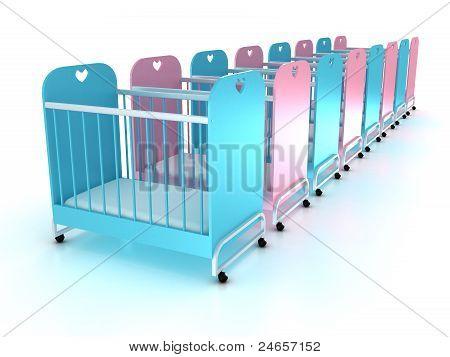 Kinderbetten auf Rädern mit einer Matratze auf weißem Hintergrund. 3D
