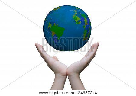 Duas mãos segurar o mundo