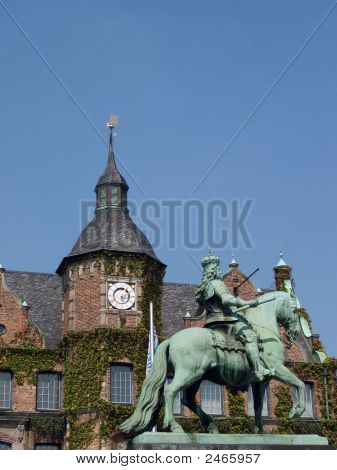 Germany, Dusseldorf - Statue And Clock Tower