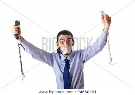Censorship concept with tight lipped businessman