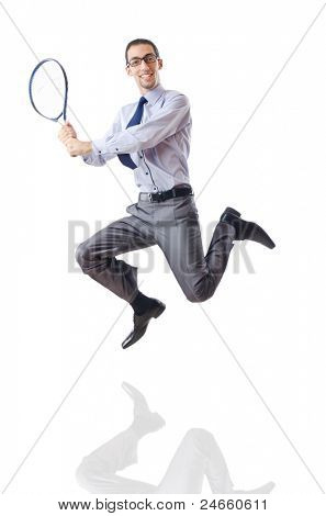 Businessman playing tennis on white