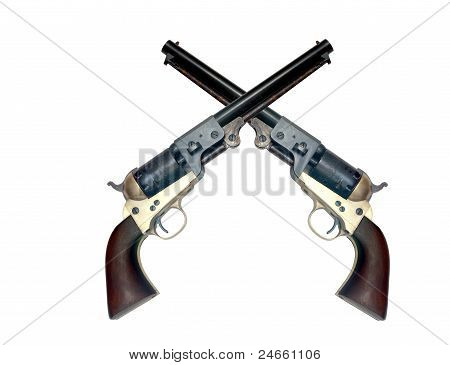 Two Old Metal Colt Revolver